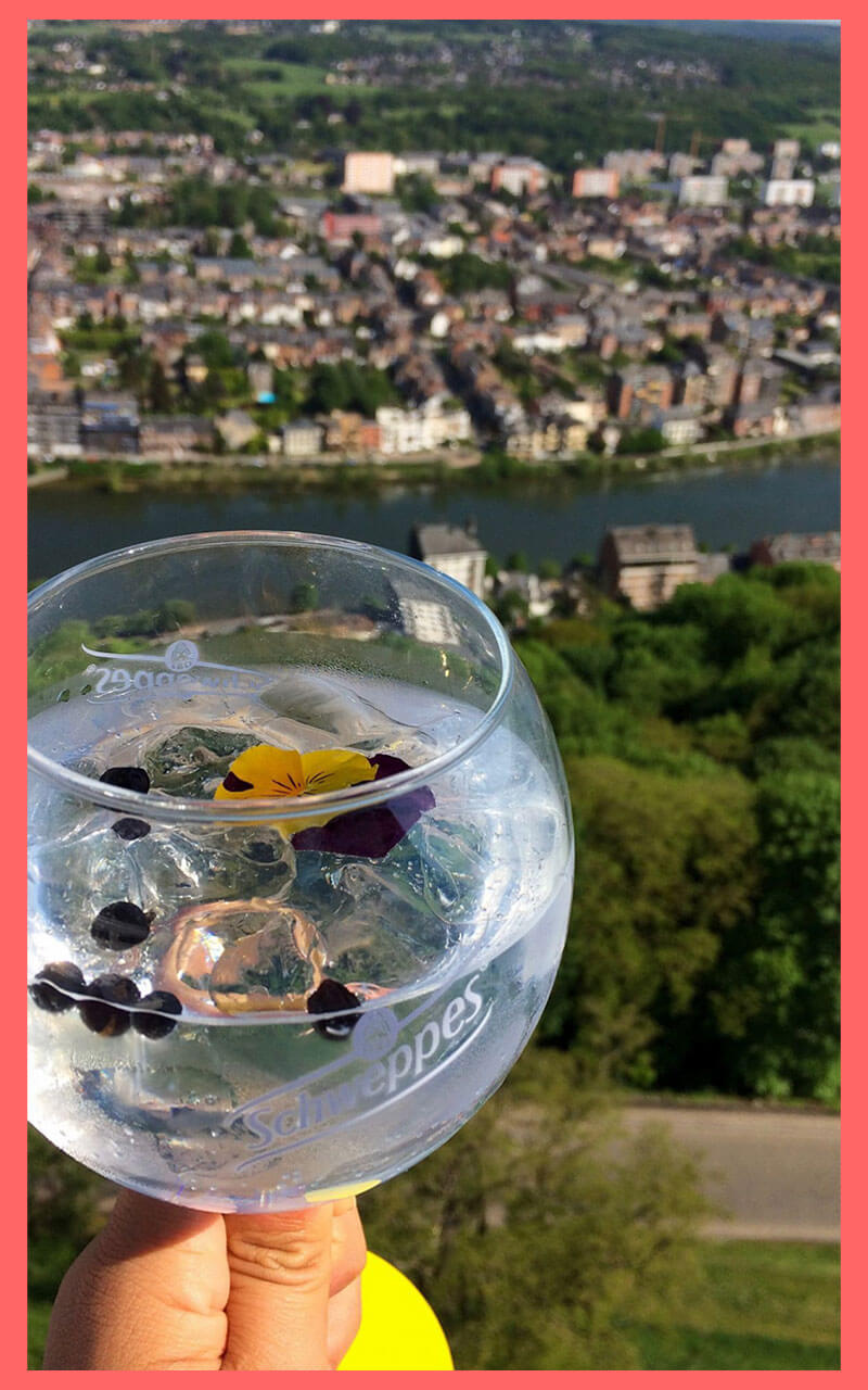 Namur aus der Luft beim Dinner in the Sky