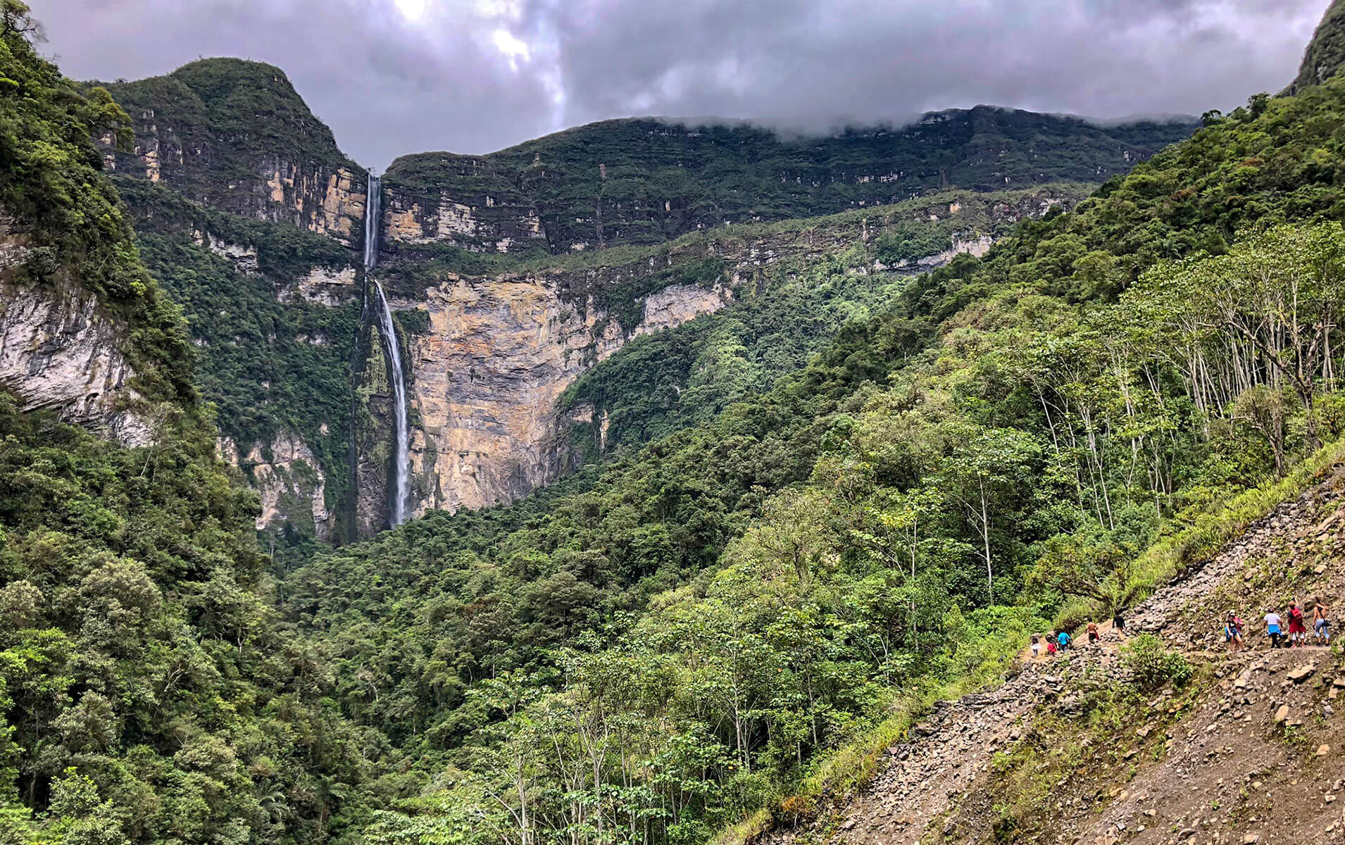Gocta Wasserfall Bergkulisse