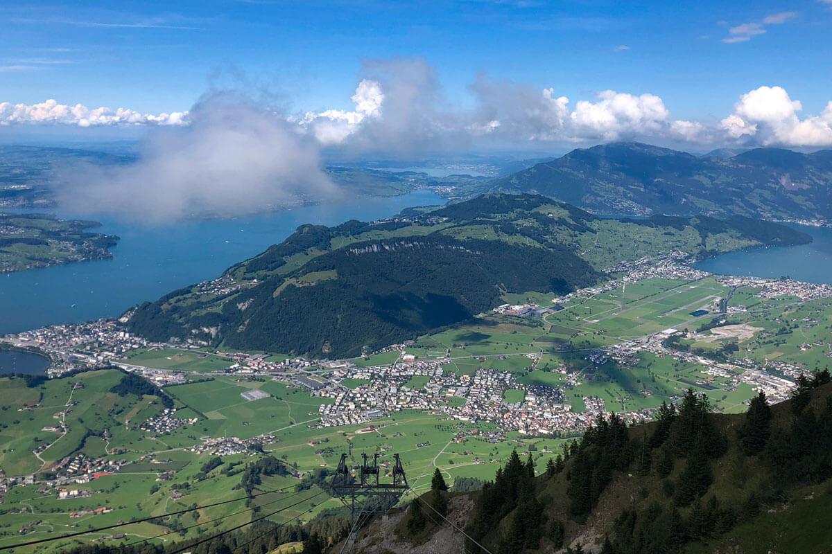 Blick auf Stans, Bürgenstock und Vierwaldstättersee